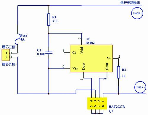 图1 锂芯保护电路