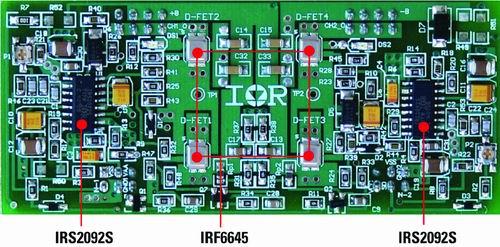 """图3 基于irs2092集成d类""""基本组件""""ic和irf6645"""