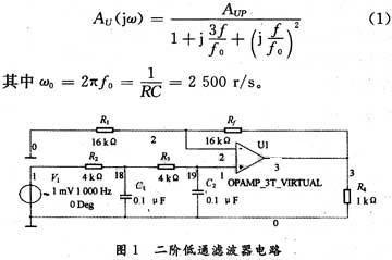 用multisim分析二阶低通滤波器电路