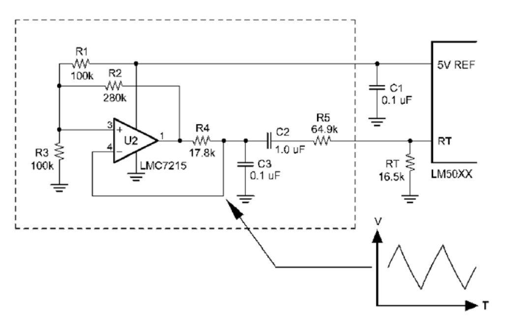 通过让该三角波调制来自控制器rt引脚的电流