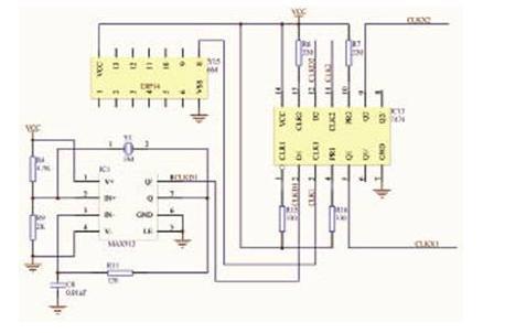 电路输出的方波信号送入差频器74ls74的d端,参考用高精度 6m晶振输出