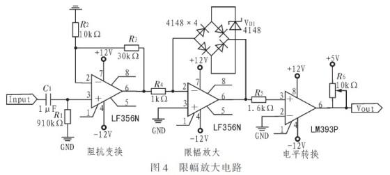 前级同相放大电路主要起到阻抗变换的作用;限幅放大电路采用二极管1n